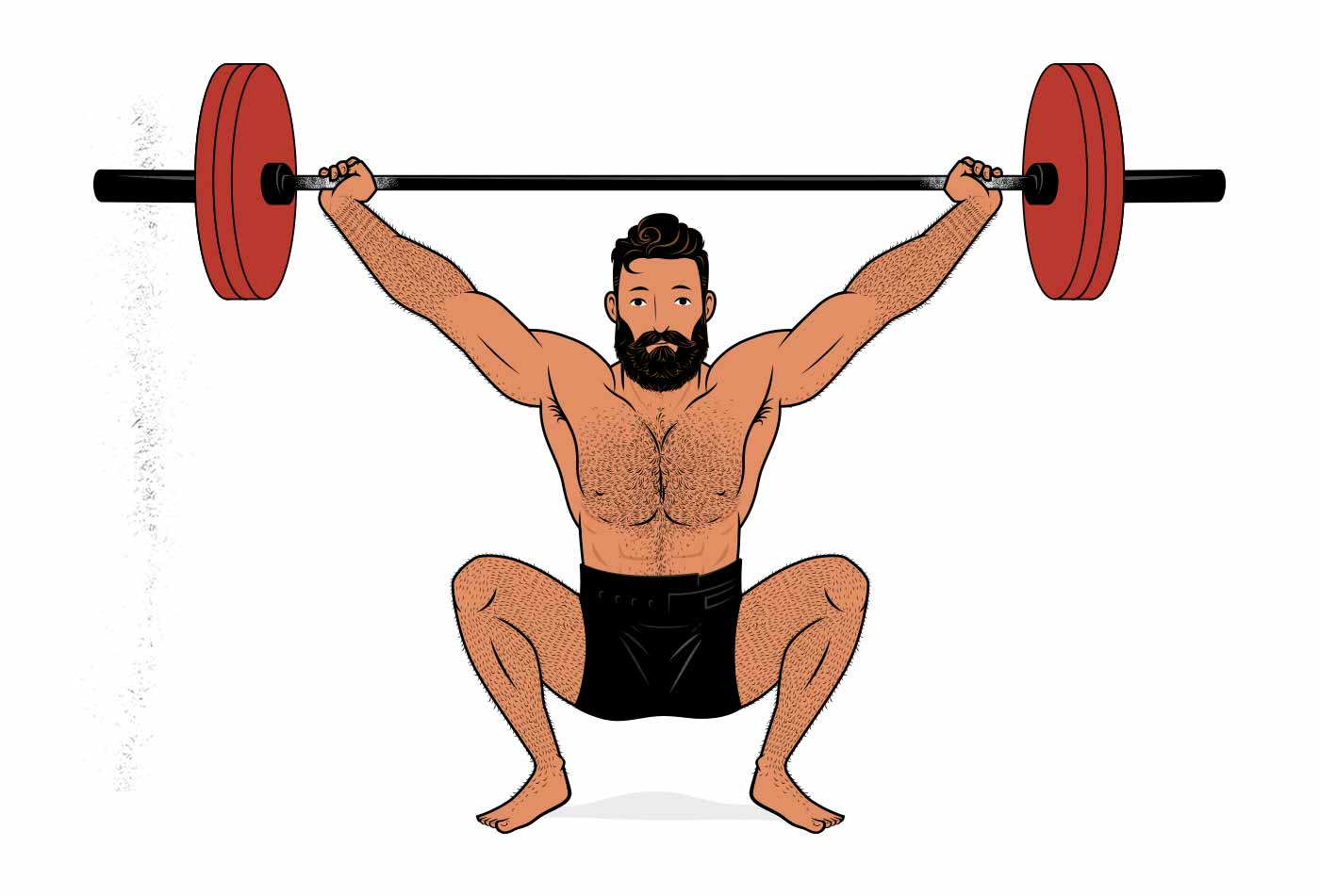 Illustration of a man doing the Olympic weightlifting snatch lift.