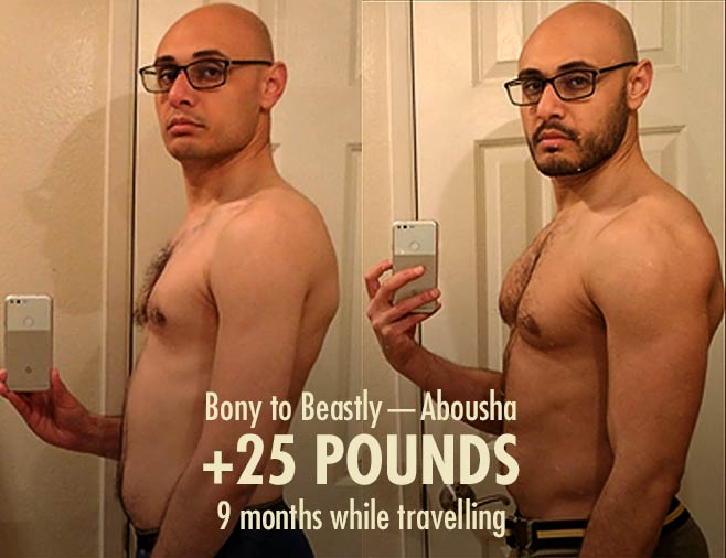 Abousha skinny ectomorph hardgainer before after bulking transformation