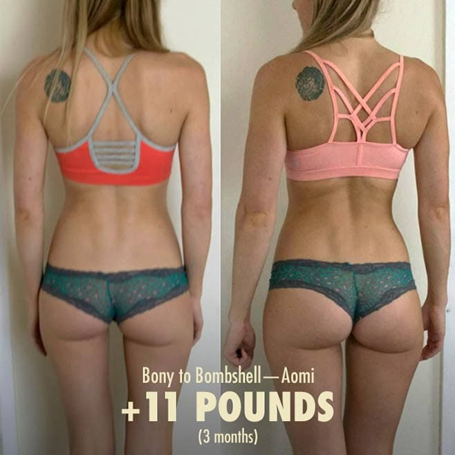 Aomi skinny woman healthy weight gain butt glutes hips transformation before after photos bulking lifting weights