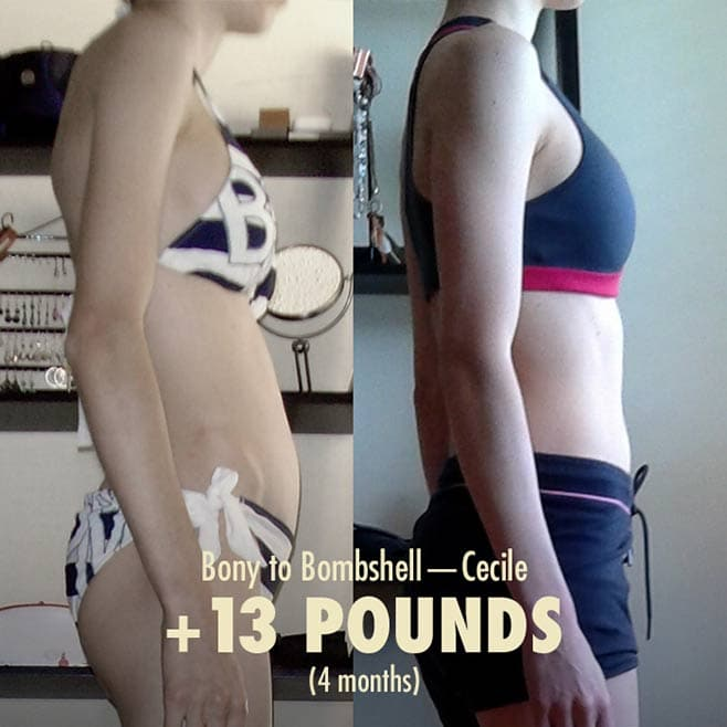 Cecile underweight skinny woman healthy weight gain transformation before after photos bulking lifting weights posture