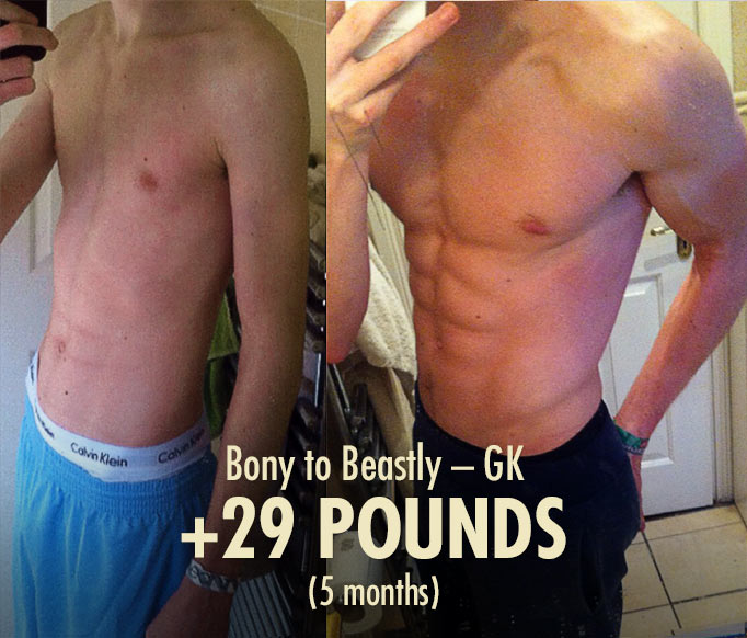 GK lean gains bulking transformation before after photos hardgainer ectomorph