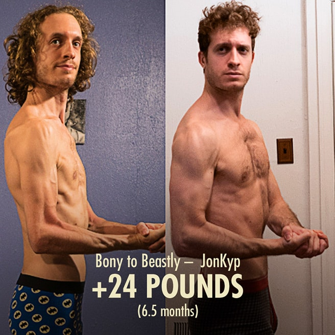 Jon Skinny hardgainer Bulking Muscle Gain Transformation before after photos