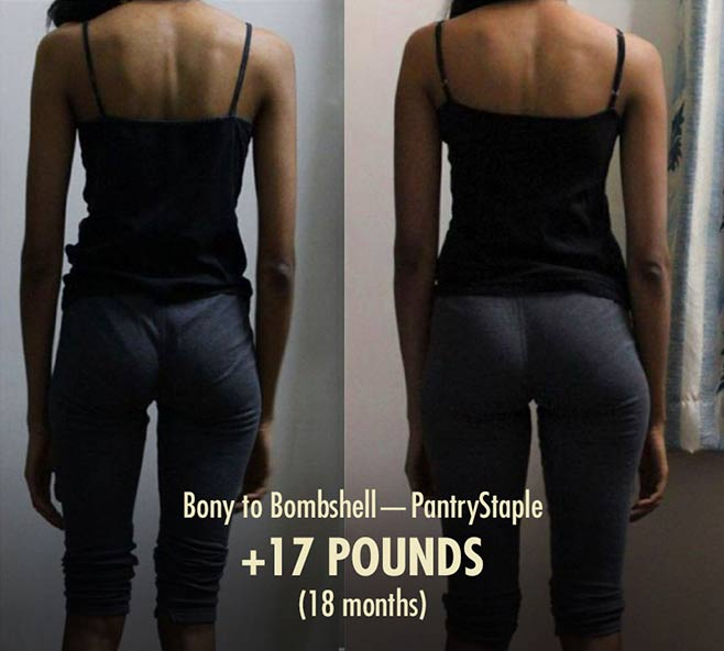 Pantrystaple skinny woman healthy weight gain before after photos transformation bulking lifting weights