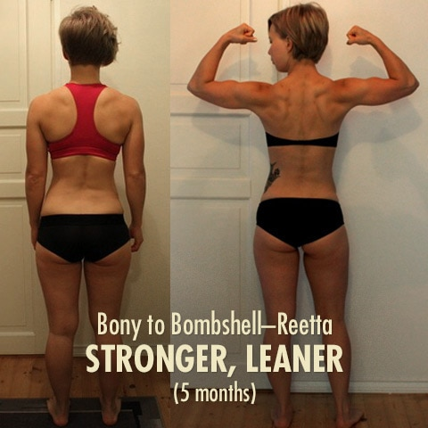 Before and after photo of a woman building muscle