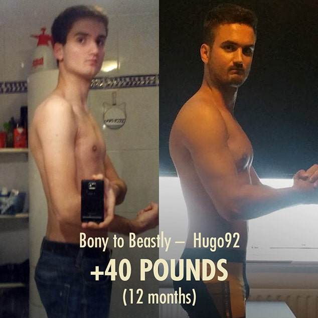 Before and after photo of a skinny guy becoming muscular