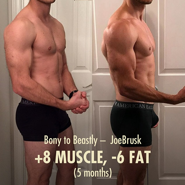 Before and after photo of an intermediate lifter bulking