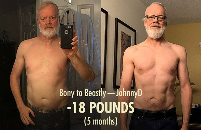 Before and after photo of a skinny-fat guy becoming lean and muscular
