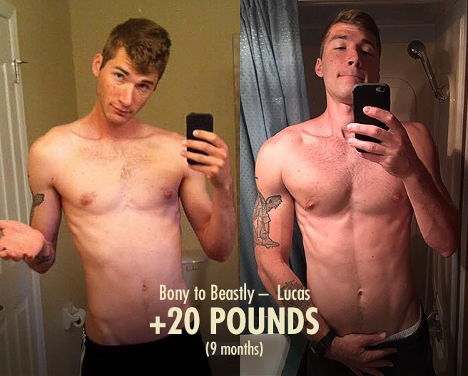 Lucas Lean Gain Bulking Transformation Before After Progress Photos