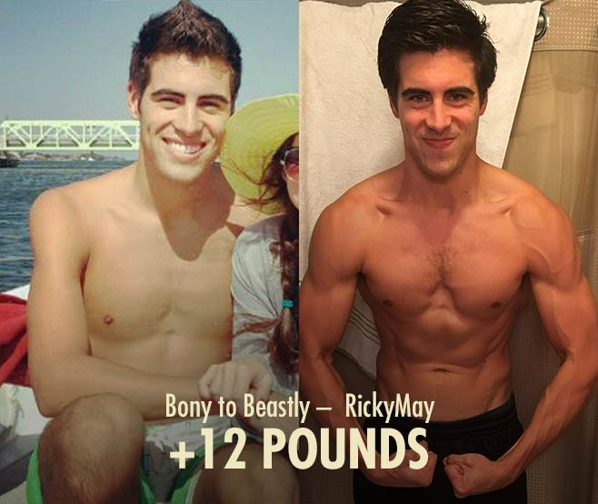 Ricky skinny-fat body recomposition muscle gain transformation before after photos