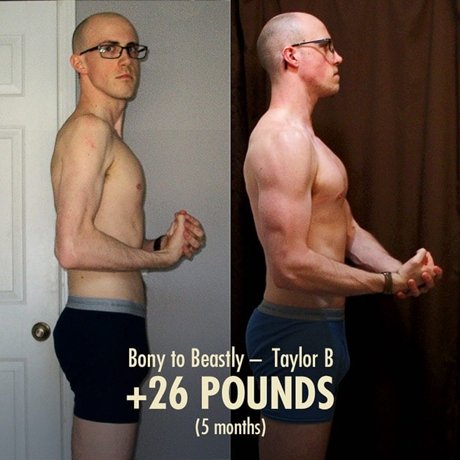 Taylor Hardgainer Ectomorph bulking transformation before after photos