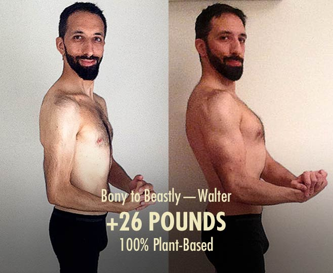 Walter skinny hardgainer ectomorph plant-based vegan bulking transformation before after photos