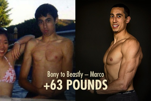 Before and after progress photo showing Marco's muscle-building results.