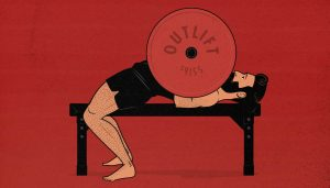Illustration of a man doing a barbell bench press