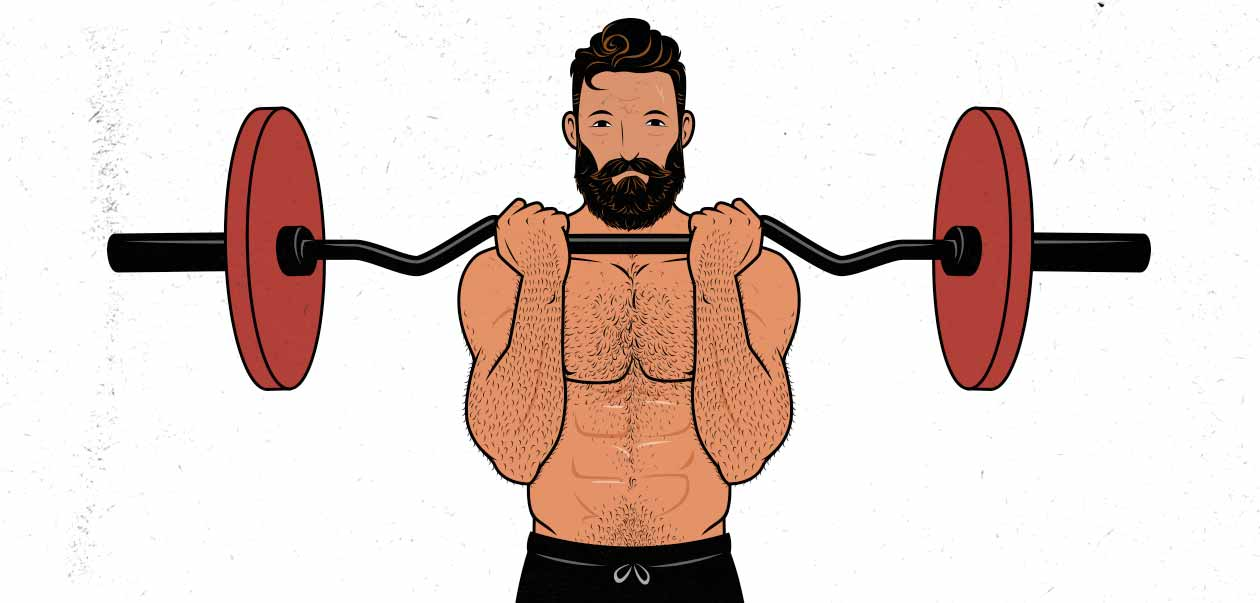 Illustration of. a man doing a barbell curl with an Ez-bar