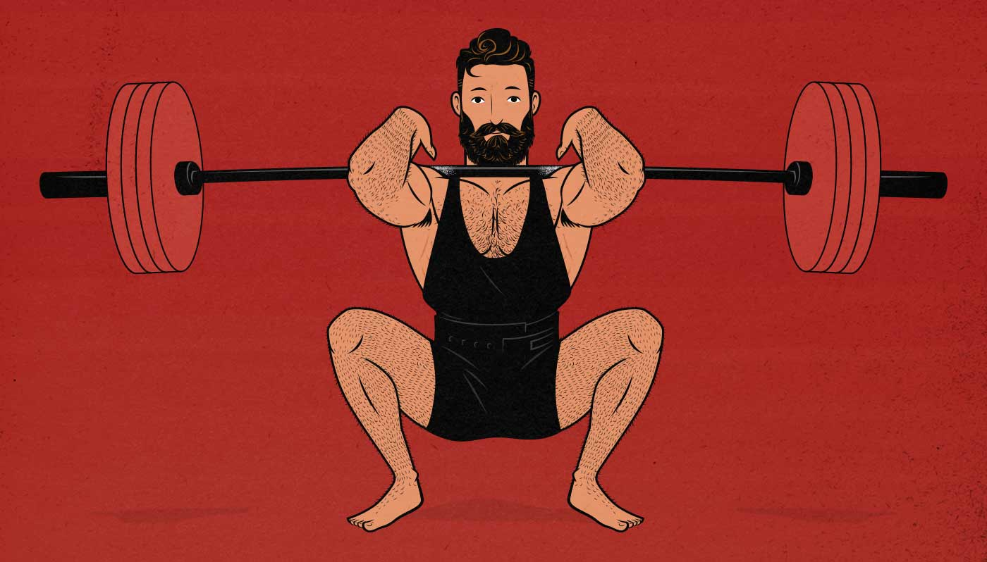 Illustration of a man doing a barbell front squat