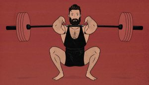 Illustration of a man doing the barbell front squat