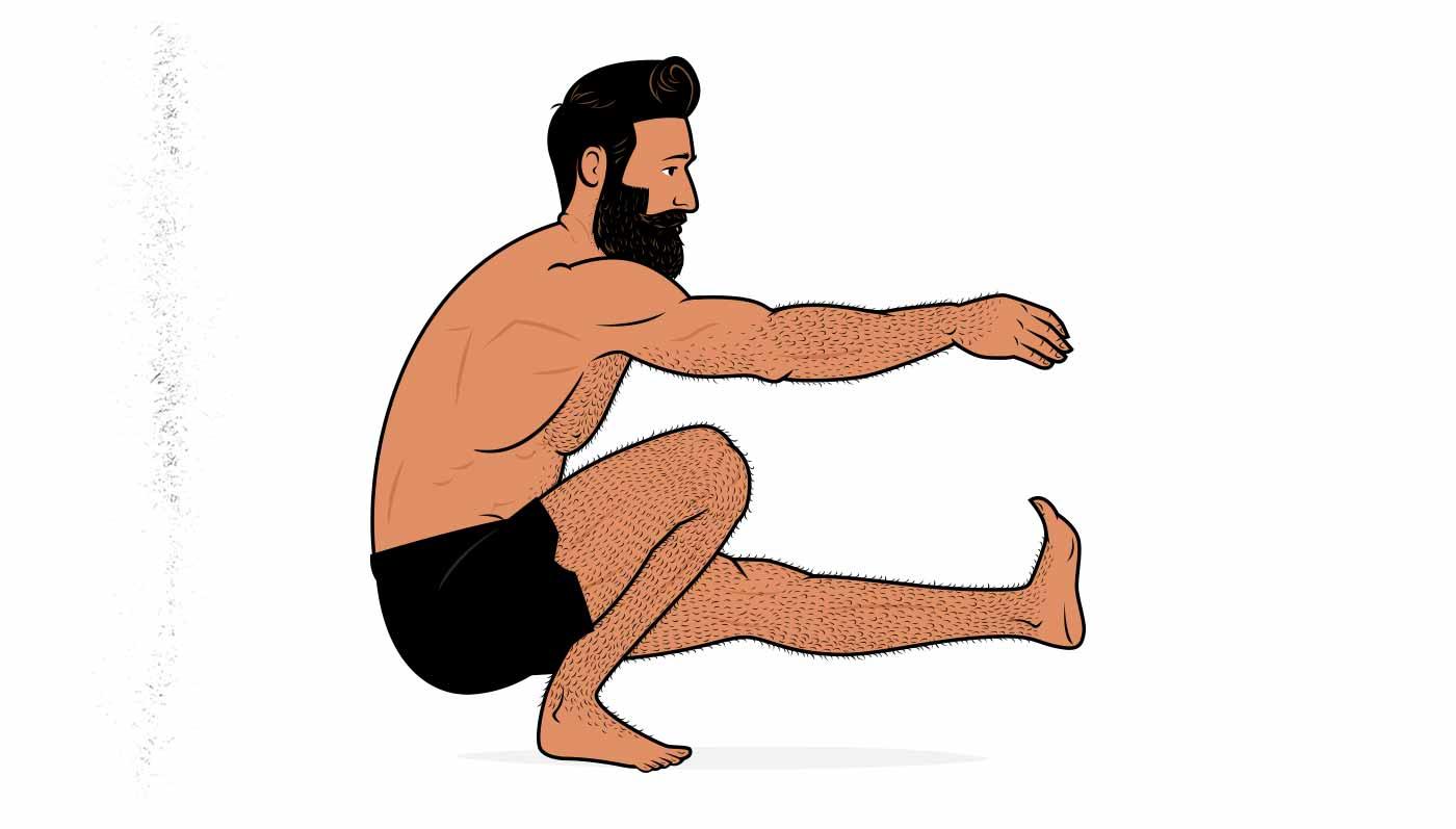 Illustration of a man doing a bodyweight pistol squat.