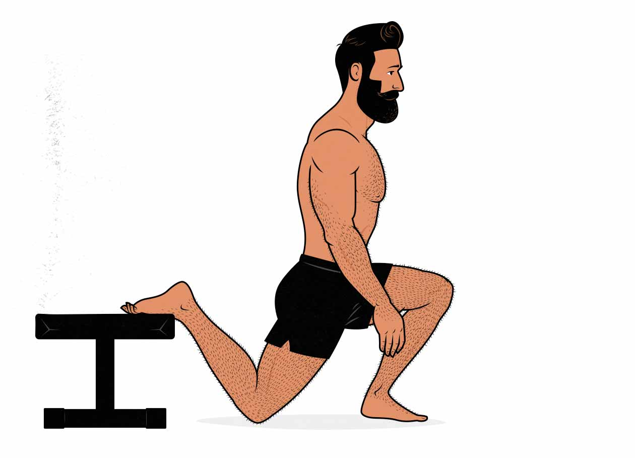 Illustration of a man doing a bodyweight Bulgarian split squat.