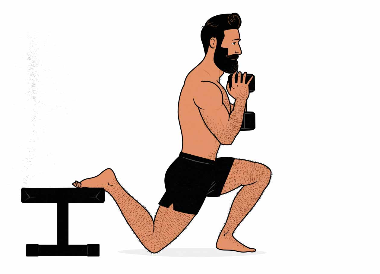 Illustration of a man doing a dumbbell Bulgarian split squat.