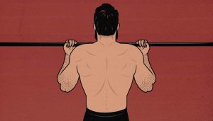 Illustration of a man doing chin-ups (back view)