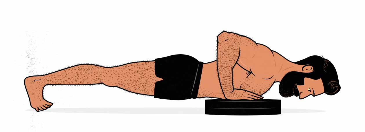 Illustration of a man doing a deficit push-up.