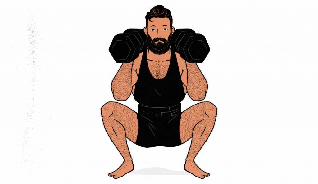 Illustration of a man squatting while holding two dumbbells in a racked position.