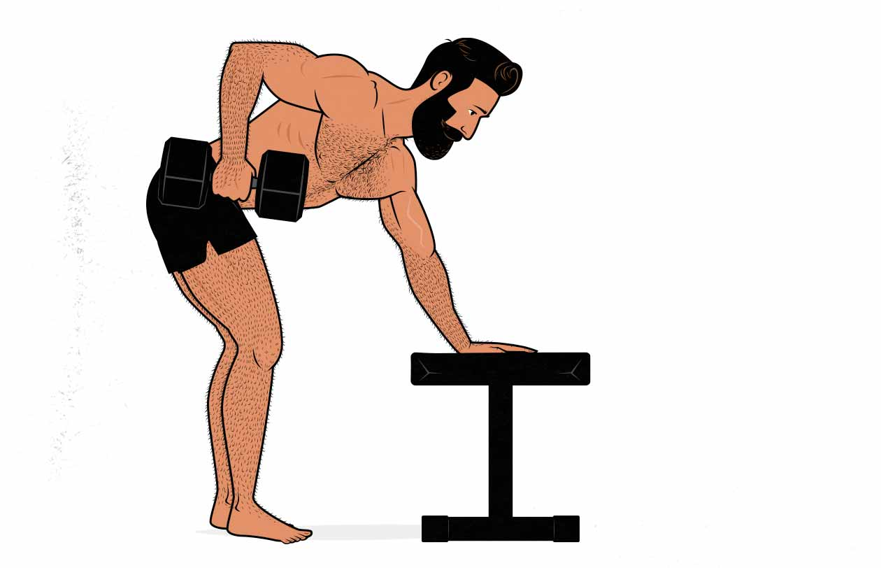 Illustration of a man doing a 3-point dumbbell row with one arm.