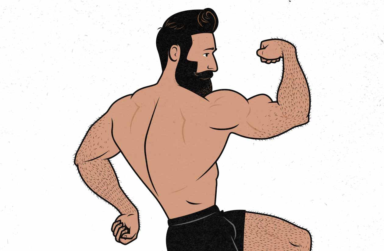 Ilustración de un hombre posando, flexionando sus bíceps