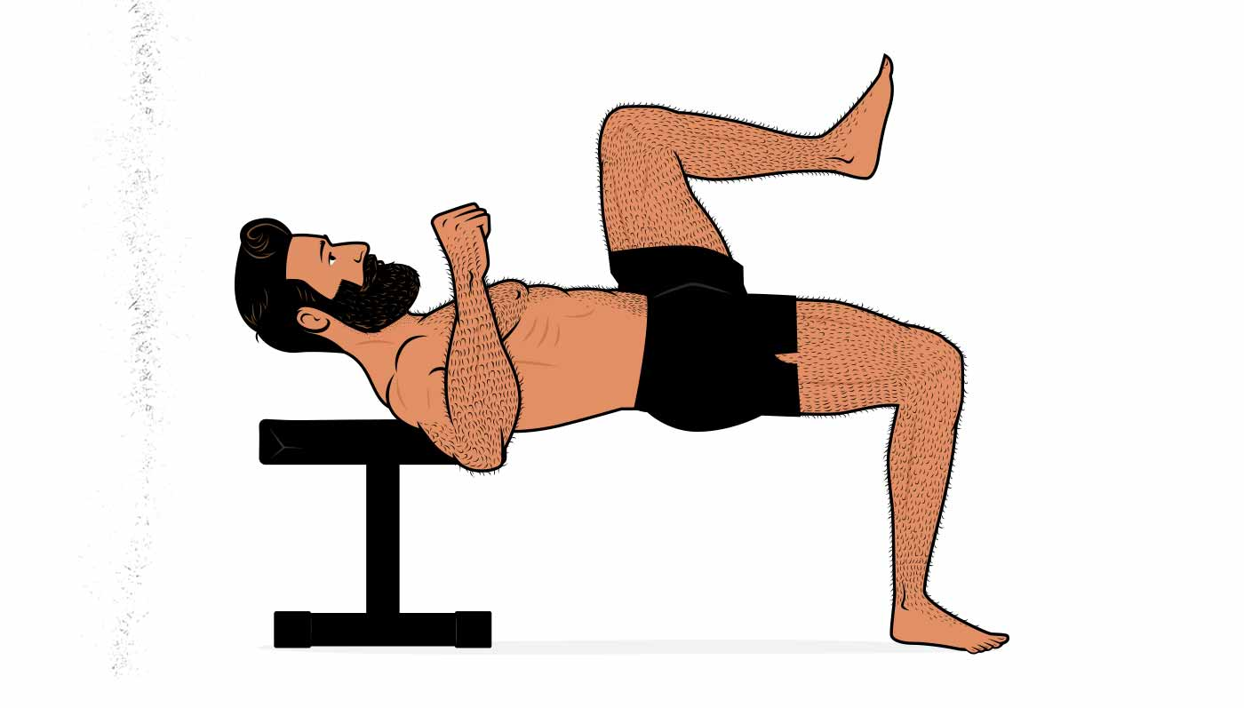 Illustration of a man doing a bodyweight one-legged hip thrust.