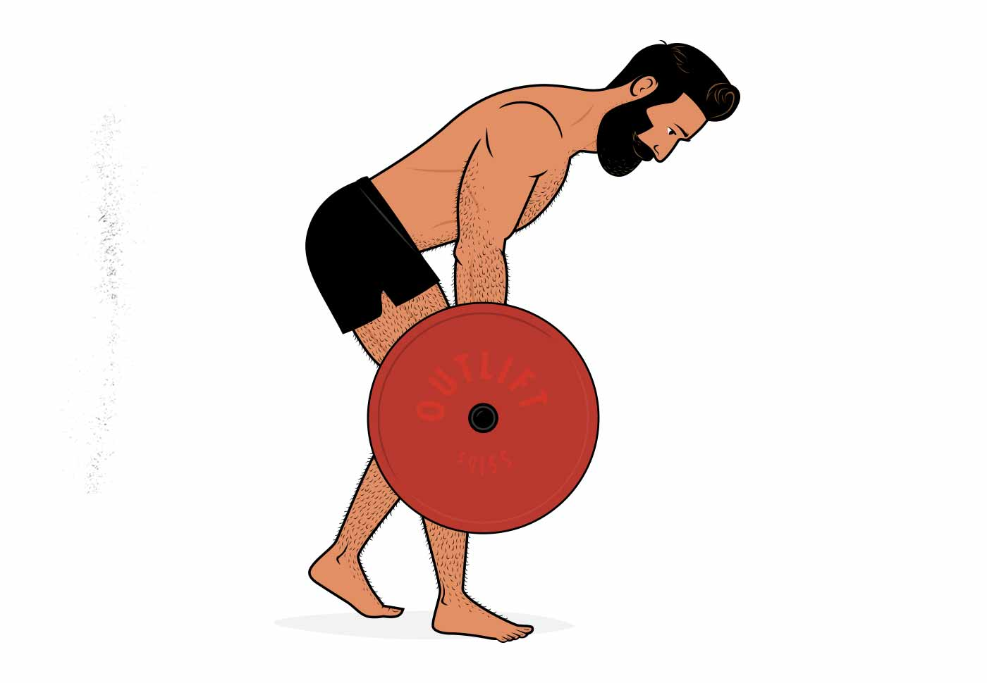 Illustration of a man doing a one-legged Romanian deadlift.