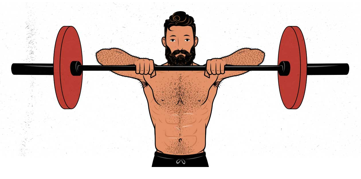 Illustration of a man doing a barbell upright row.