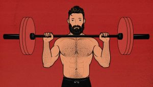 Illustration of a man doing a barbell overhead press.