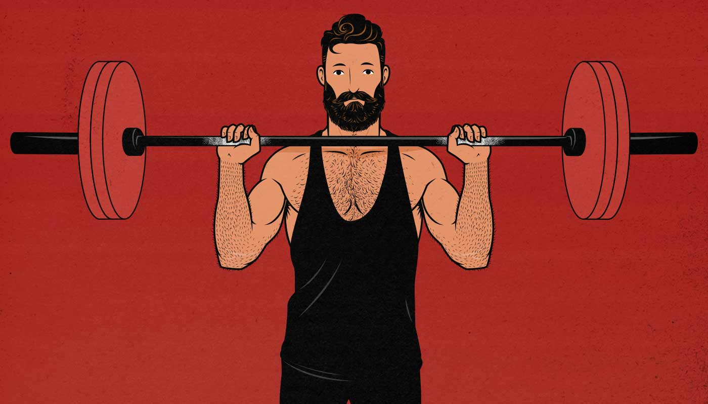 Illustration of a man doing the barbell overhead press