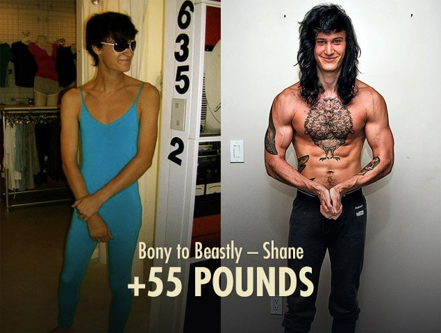 Shane's skinny to muscular ectomorph bulking transformation