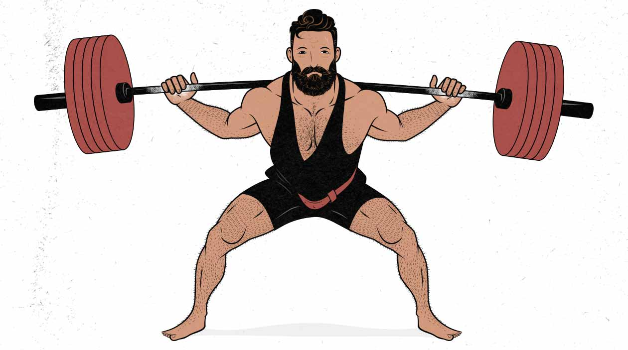 Illustration of a male powerlifter doing  a low-bar barbell squat