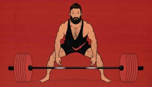 Illustration of a man doing a sumo deadlift (outlift)