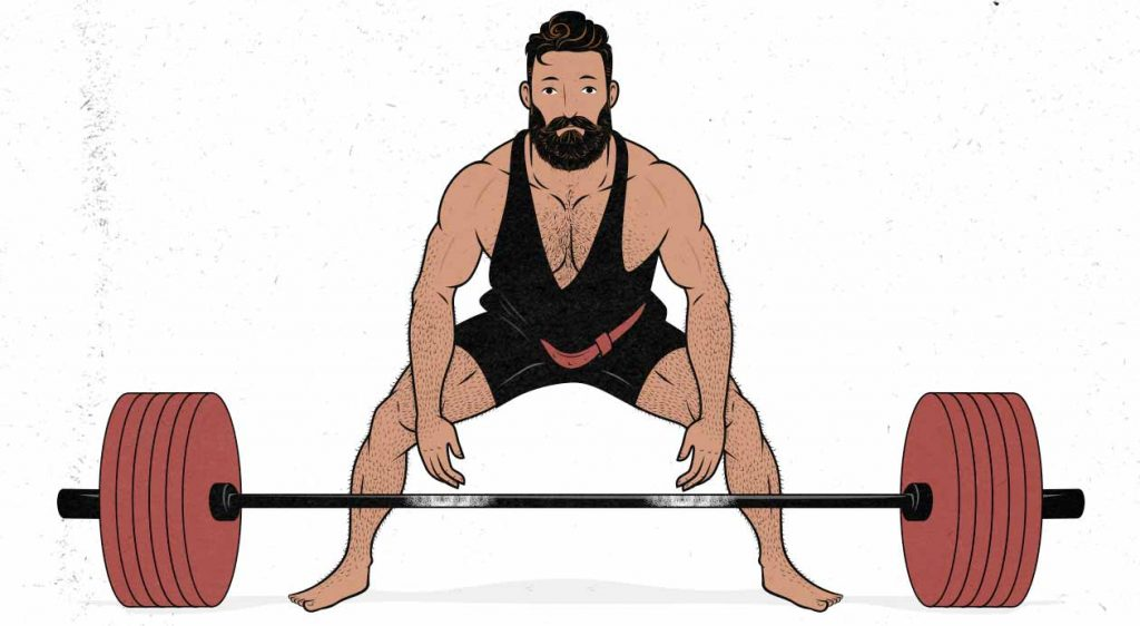 Illustration of a powerlifter doing a sumo stance barbell deadlift
