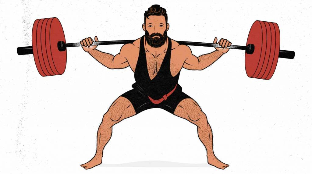 An illustration of a powerlifter doing a low-bar barbell back squat