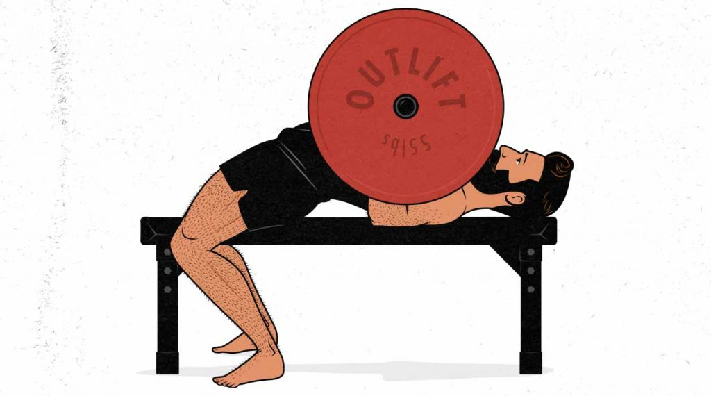 Illustration of a man doing the barbell bench press.