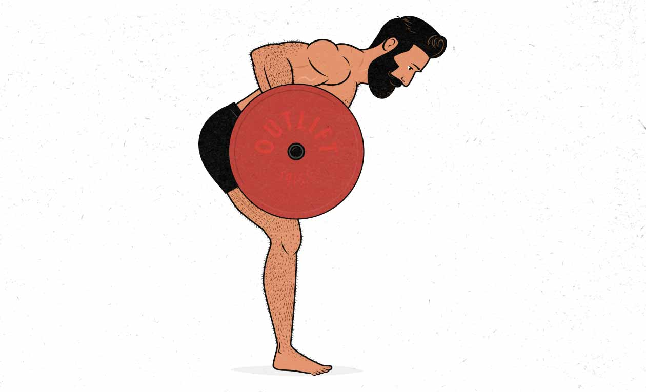 Illustration of a man doing a barbell row.