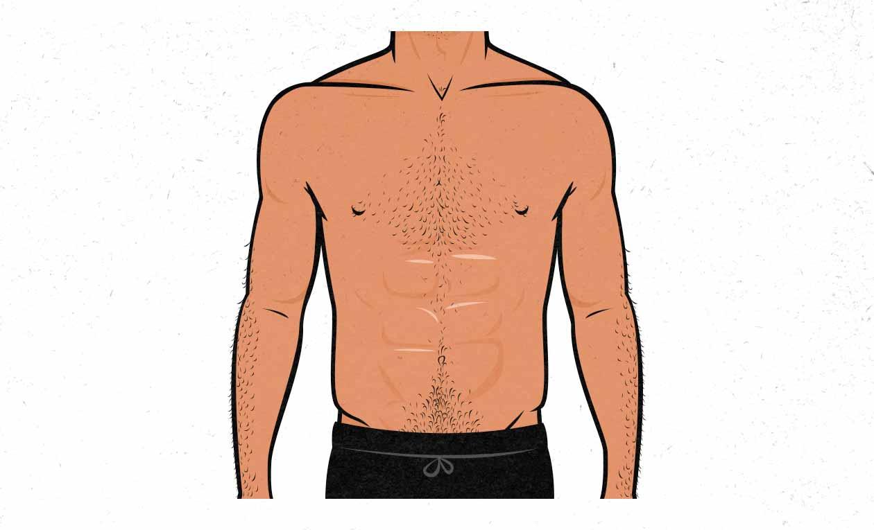 Ilustración de un hombre musculoso con un pecho sub-desarrollado