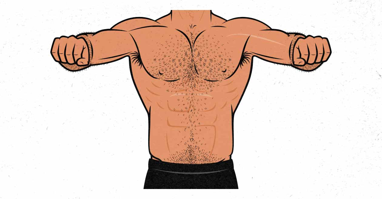 Illustration of a man doing the barbell bench press with a wide grip width and elbow flare.
