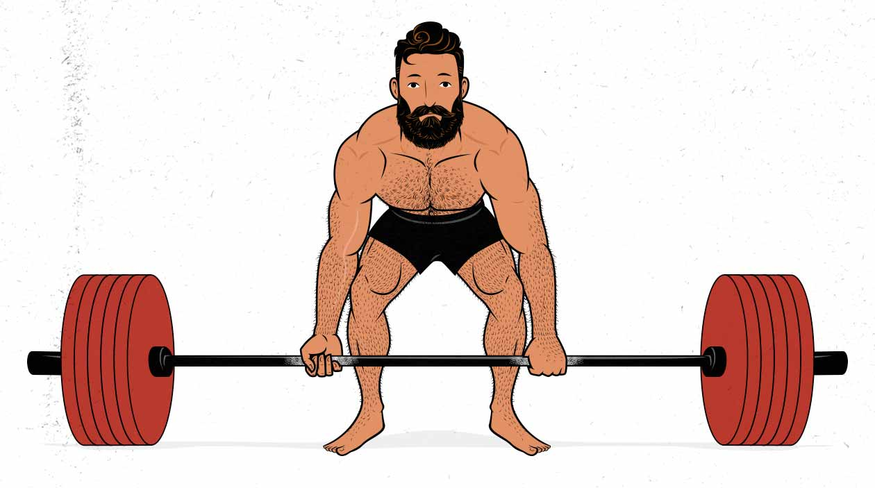 Illustration of a man doing a conventional barbell deadlift (front view).