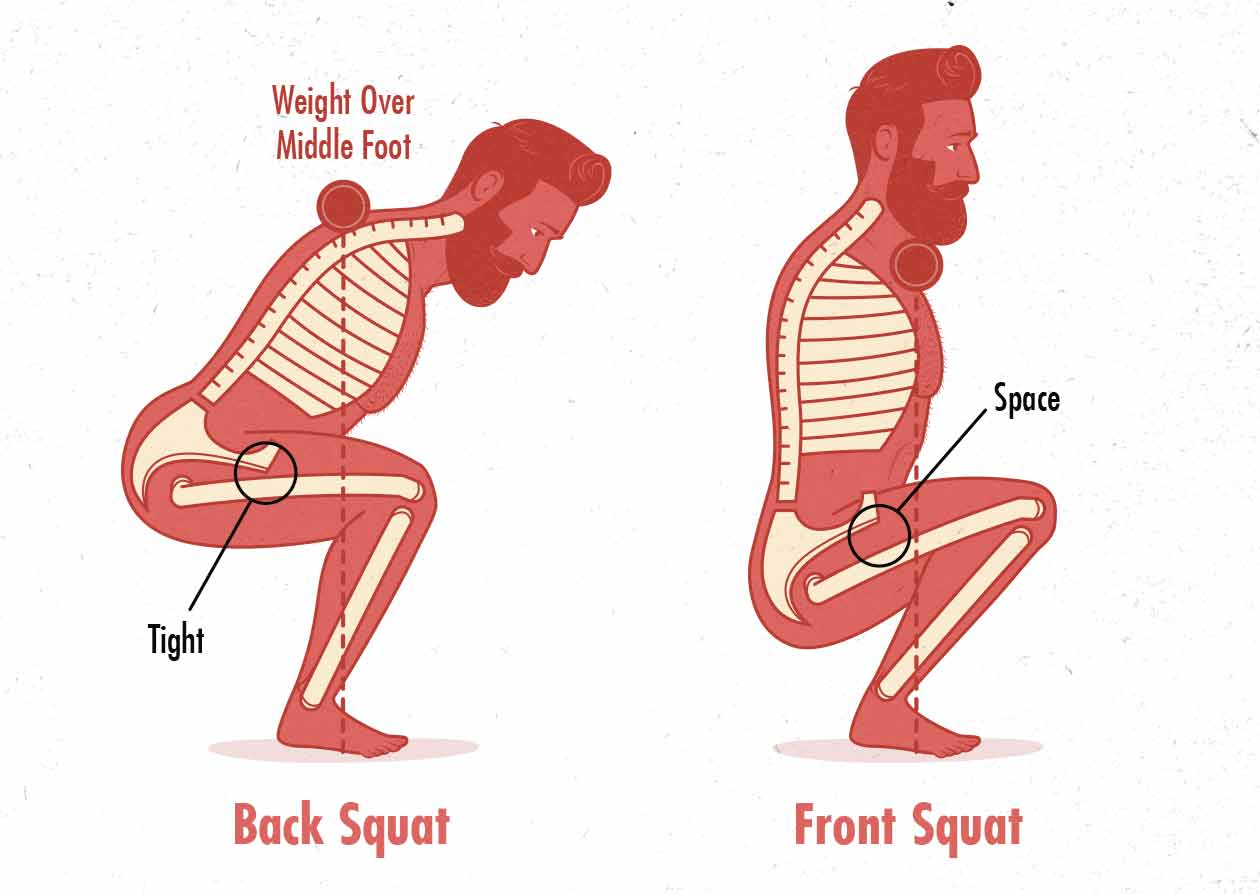 A diagram of the range of motion (depth) differences between the front squat and the back squat.