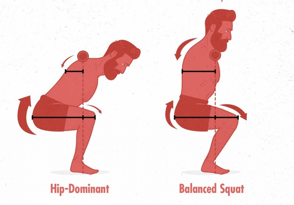 Diagram of the moment arms in the front squat and back squat.