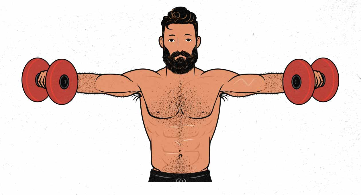 illustration of a man doing lateral raises / side raises for his side delts.