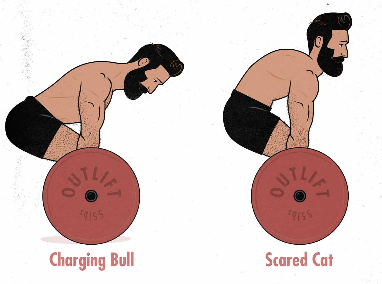 Illustration of a man deadlifting with a neutral spine and a rounded back.