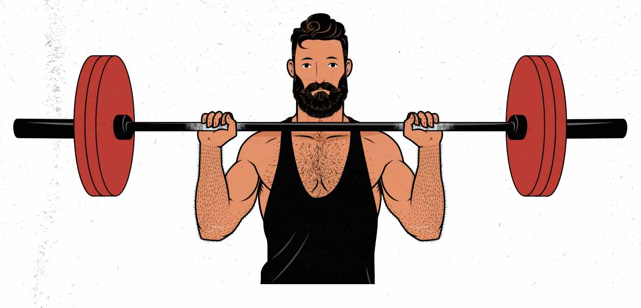 Illustration of a man doing the standing barbell overhead press.