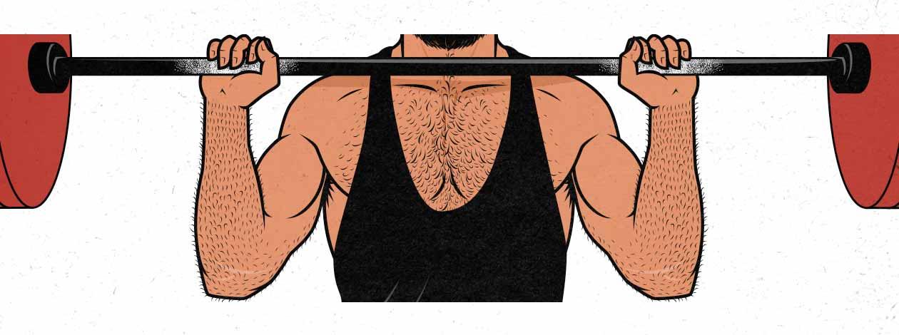 Ilustración de la posición inicial de la barra en un press de hombro cuando los antebrazos son muy largos