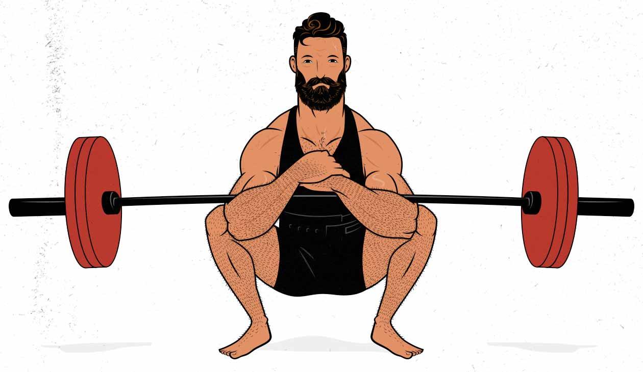 Ilustración de un hombre haciendo una sentadilla Zercher.